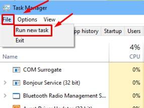 File Run New Task