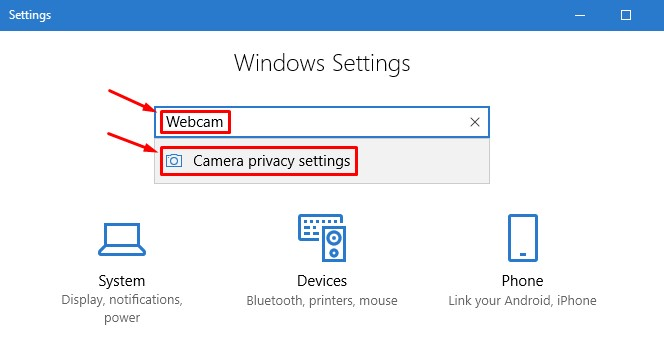 Open Camera Privacy Settings