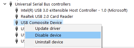 Disable Enable Usb Controller