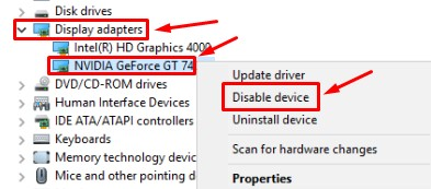 Disable Graphics Card
