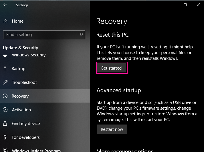 Get Started Reset Pc