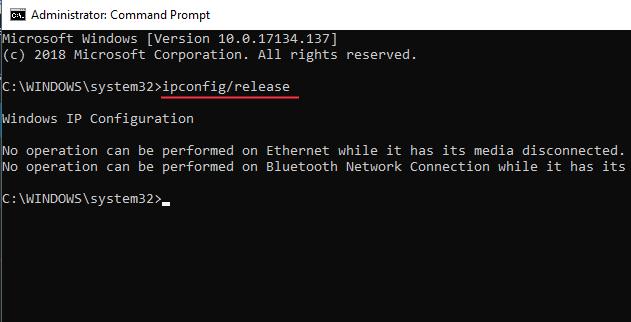 Ipconfig Release