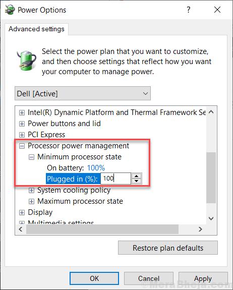 Processor Power Minimum Processor State Win 10 Min