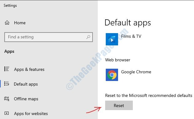 Reset Default Apps