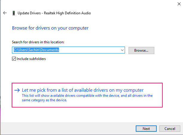 Select Drivers From Computer