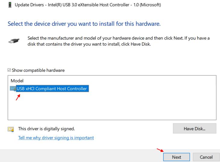 Select Usb Driver