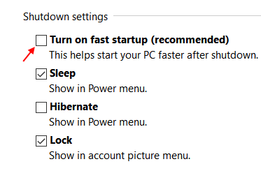 Uncheck Fast Startup