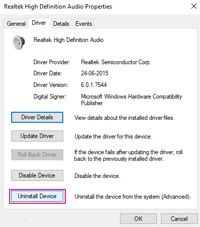 Uninstall Audio Driver