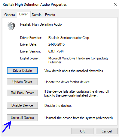 Unistall Audio Driver