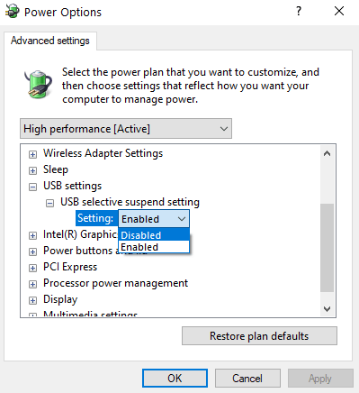 Usb Selective Suspend Settings Disabled Min
