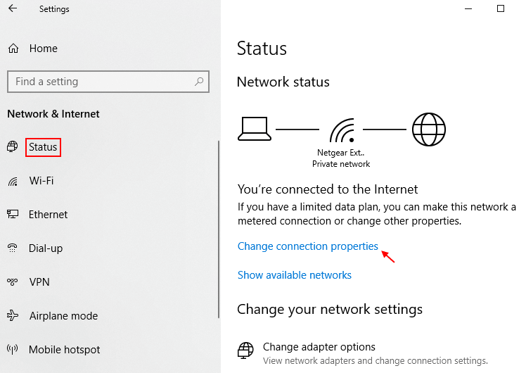 Change Connection Properties Windows 10 Min
