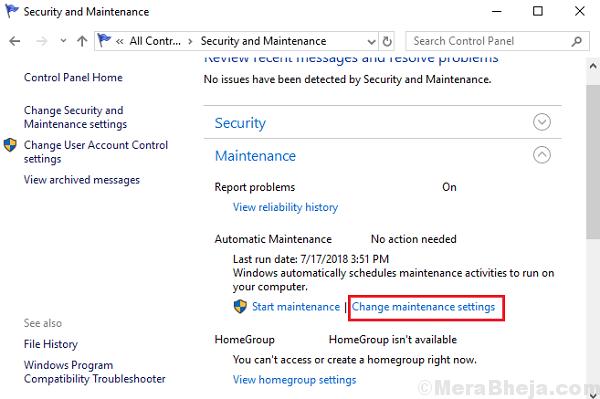 Change Maintenance Settings