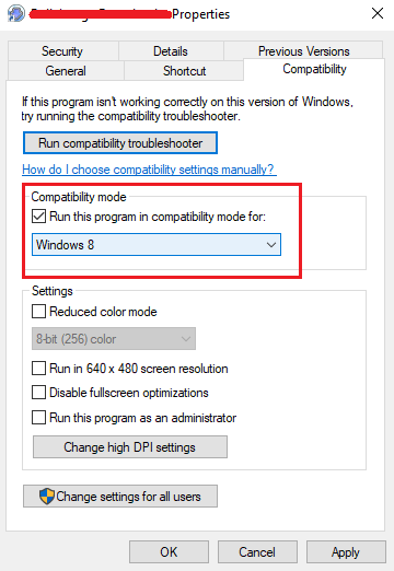 Change Program Compatibility Settings