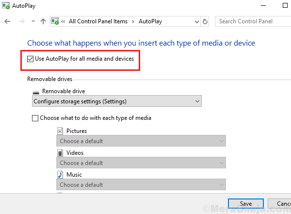 Disable Autoplay Through Control Panel