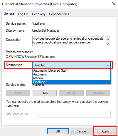 Disable Credential Manager