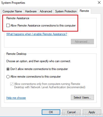 Disable Remote Assitance