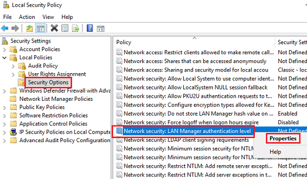 Modify Network Security Settings
