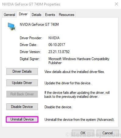 Uninstall Device Nvidia