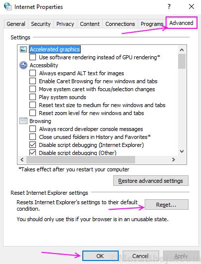 Advanced Internet Settings