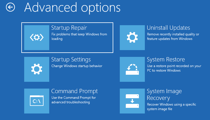 Advanced Options Startup Repair Startup Settings Command Prompt Copy Copy
