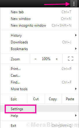 Chrome Menu Err Connection Reset
