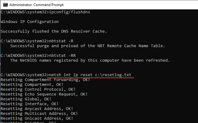 Cmd Netsh Int Ip Reset