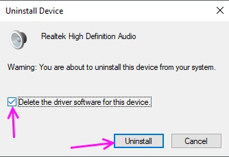 Confirm Uninstall Sound Driver