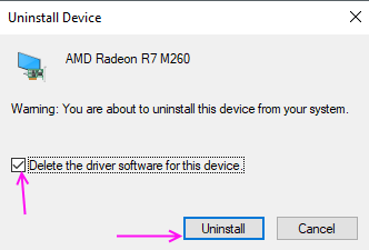 Confirm Uninstall Video Driver