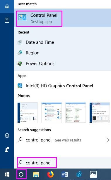 Cortana Control Panel