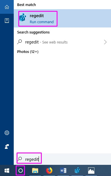 Cortana Regedit