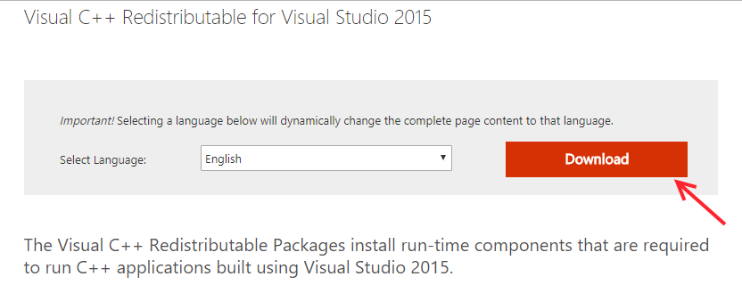Download Visual Redistributable