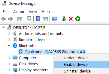Enable Bluetooth Device Manager Min