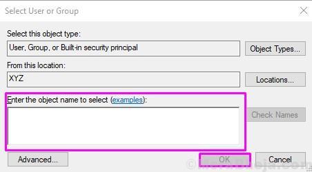 Enter User Account Name
