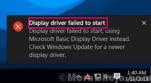 Main Display Driver Failed To Start Windows 10