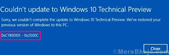 Main Fix 0xc1900101 Windows 10 Error