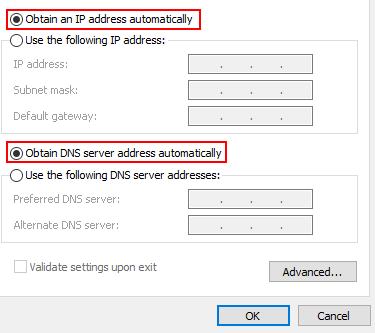 Obtain Ip Address Automatically