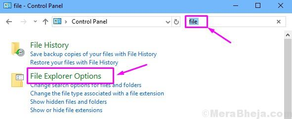 Open File Explorer Options