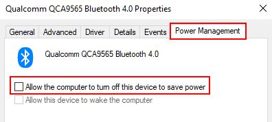 Power Management Disallow Turn Off Bluetooth