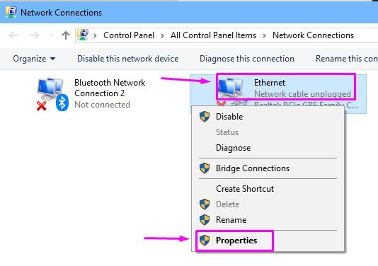 Properties Ethernet