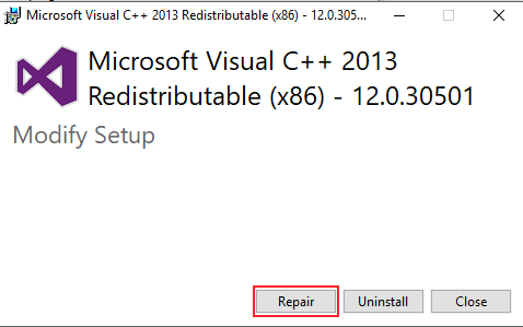 Repair Visual Studio