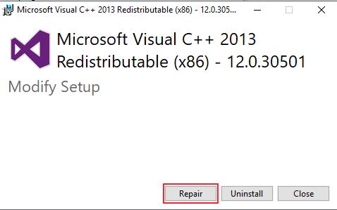 Repair Visual Studio