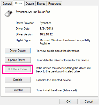 Roll Back Update Fix Snaptics Smbus Driver Issue