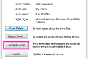 Roll Back Updates Driver Verifier Detected Violation Windows 10