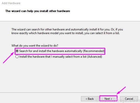 Search And Install Hardware Automatically