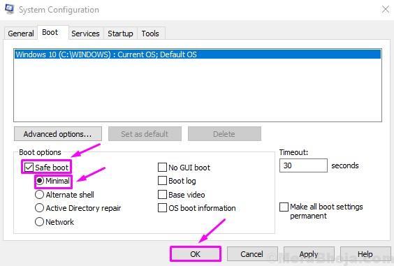 Select Safe Boot Minimal