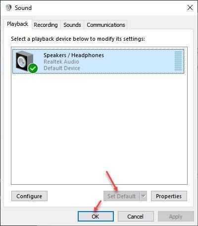 Set Default Sound Device
