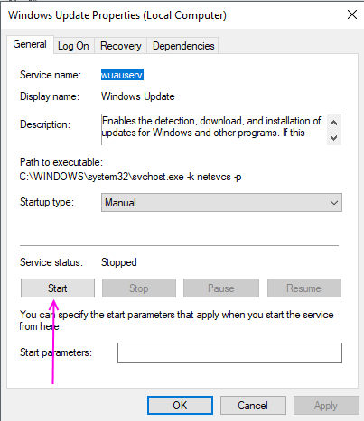Start Windows Update Services