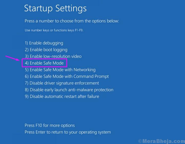 Startup Settigs Safe Mode