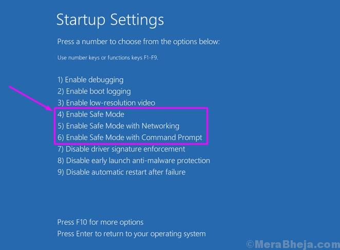 Startup Settings Select Safe Mode