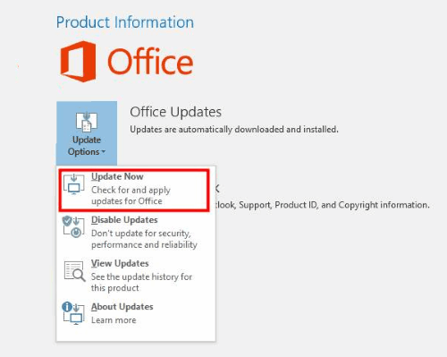 Update Office Outlook Not Responding